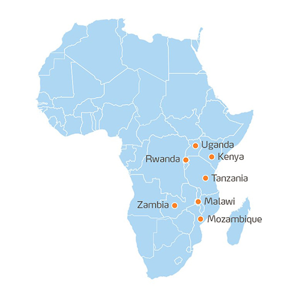 Map showing where Action Africa takes place