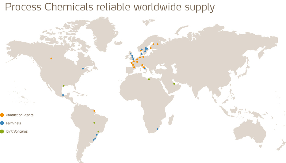 Process chemicals worldwide supply map